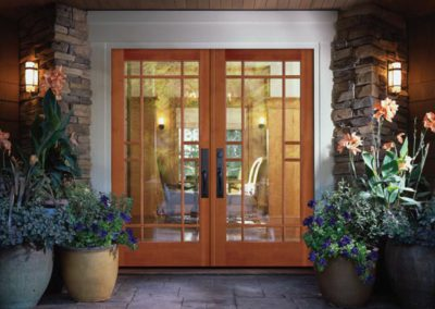 glass and wood front doors